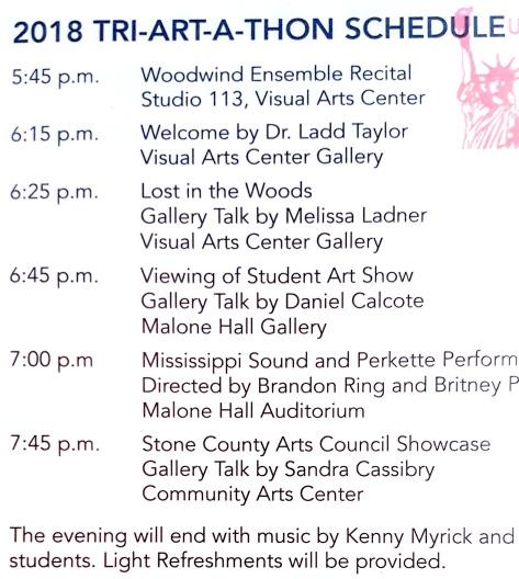 Tri-ART-a-Thon 18 schedule