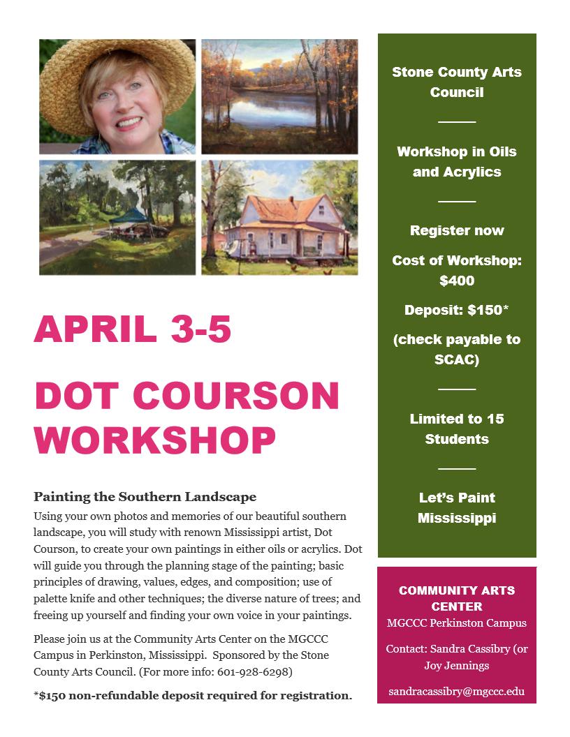 Dot Courson Workshop inApril